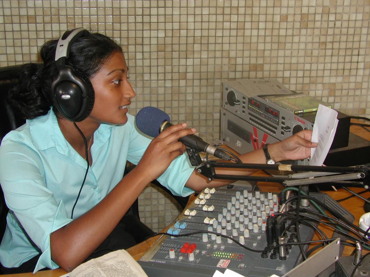 An intern at work at our journalism placement in Ghana